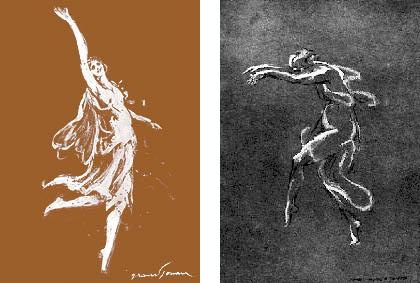 Isadora Duncan chalk drawing by Grandjouan